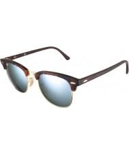 RayBan Rb3016 51 Clubmaster песок черепаховый-золотые зеркальные солнечные очки 114530 серебряные