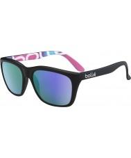 Bolle 527 ретро-коллекция матовая чёрная графика поляризованный сине-фиолетовые очки