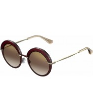 Jimmy Choo Дамы Гота-S 65L QH зеркальные солнечные очки бордовый золото